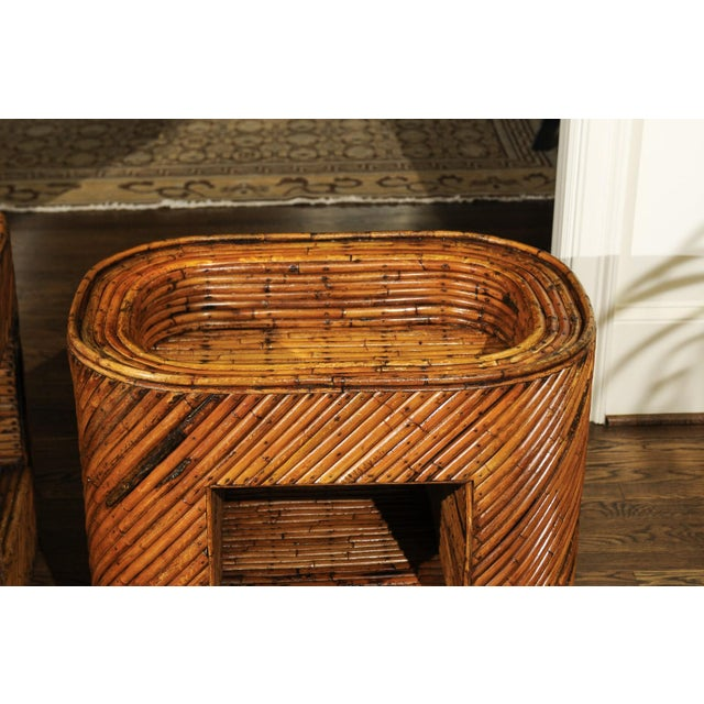 Exceptional Restored Pair of Bamboo Display End Tables, circa 1975 For Sale - Image 4 of 13
