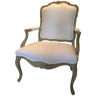 Louis XVI Style Upholstered Open Armchair, Early 20th Century For Sale