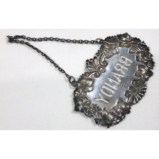 Silver 1890s Antique Sterling Silver Liquor Decantor Label For Sale - Image 8 of 13