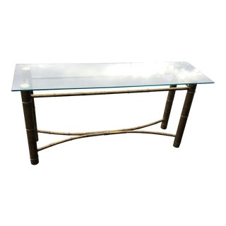 Vintage Metal Brass Bamboo Console Table** For Sale