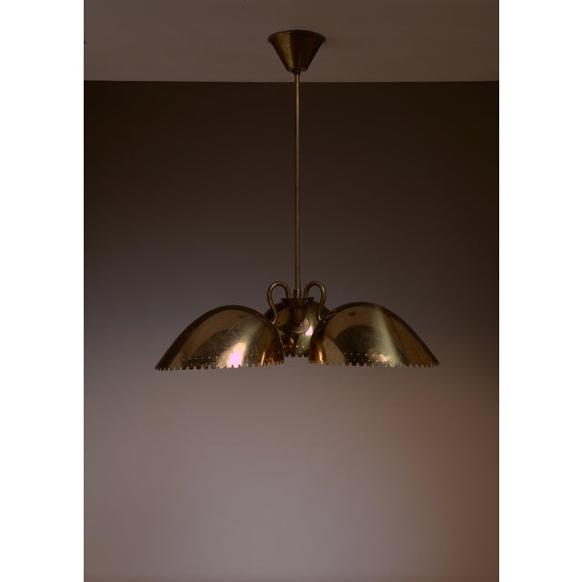 Mid-Century Modern Bertil Brisborg Brass Pendant with Three Shades, Bohlmarks, Sweden, 1940s For Sale - Image 3 of 3