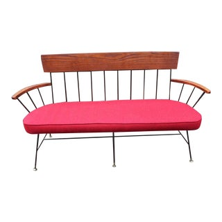 Selrite Red Wool Upholstered Three-Seat Settee For Sale