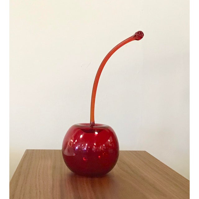 Contemporary Glass Blown Red Maraschino Cherry Sculpture by Donald Carlson For Sale - Image 3 of 9
