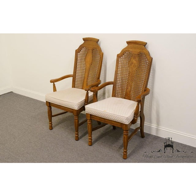 Contemporary Henry Link Dixie Contemporary Style Cane Back Dining Arm Chairs - a Pair For Sale - Image 3 of 13