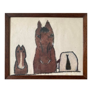 "Mid 20th Century ""Three Horses"" Folk Art Painting, Framed For Sale"