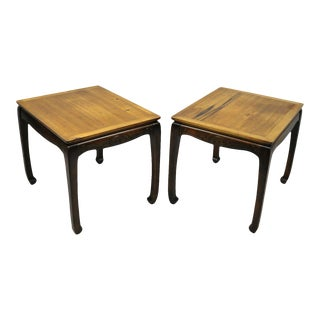 Pair of Rosewood Oriental Chinoiserie Ming Style Lamp Side Tables by Lane For Sale