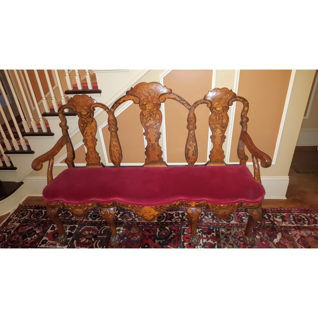 Early 18th Century Early 18th Century Bench Setee Dutch Marquetry Settee For Sale - Image 5 of 5