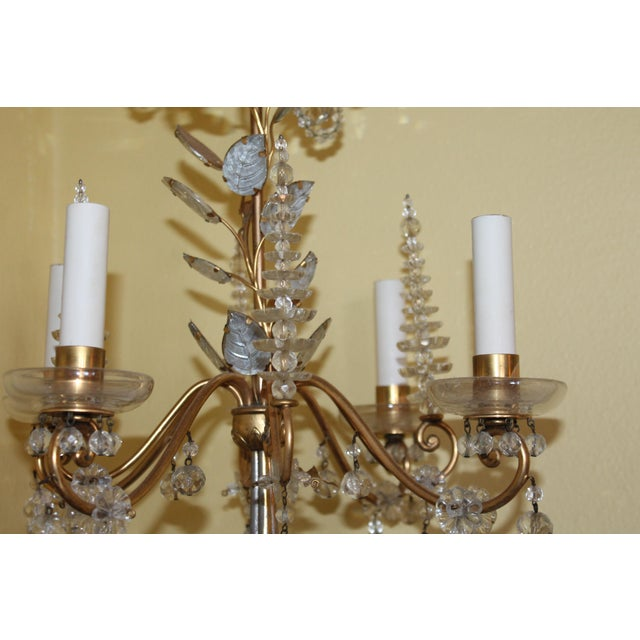 C1940s Hollywood Regency Maison Bagues Dore Bronze & Crystal Chandelier For Sale - Image 9 of 13