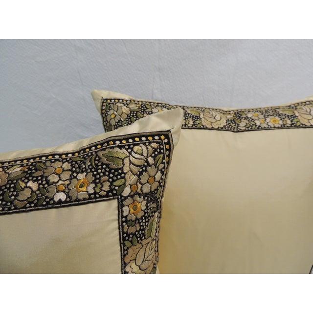 Petite Yellow Japanese Silk Pillows - A Pair - Image 3 of 4