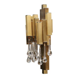 Pair of Gaetano Sciolari Brutalist Sconces with Glass Tear Drops For Sale