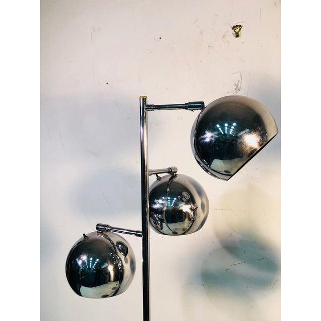 Koch & Lowy Koch & Lowy Three Globe Shades Chrome Floor Lamps- A Pair For Sale - Image 4 of 7