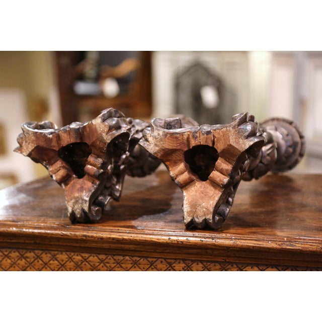 Mid-Century Italian Carved Silver Leaf Candlesticks Prickets - a Pair For Sale In Dallas - Image 6 of 7