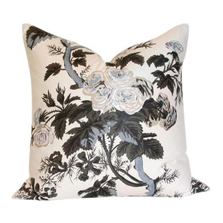 "Pyne Hollyhock Charcoal Pillow Covers 17"" Sq"