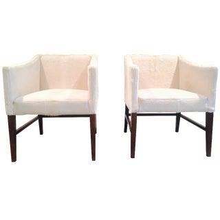 White Brazilian Cowhide Club Chairs - A Pair For Sale