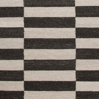Black and White Striped Rug - 5′ × 8′ For Sale