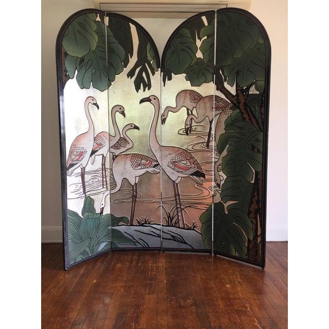 Art Deco Vintage Japanese Silver Leafed Room Divider For Sale - Image 3 of 12