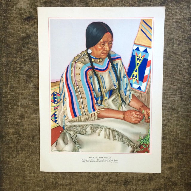 """Beautiful 1940s print of Blackfoot """"Not Real Bear Woman"""" by Winold Reiss. I have purchased a 24 piece portfolio that was..."""