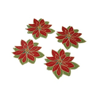 Vintage Poinsettia Coasters or Napkin Holders - Set of 4 For Sale