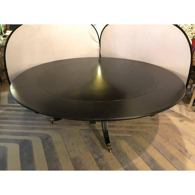 Monumental Hollywood Regency Custom-Made Ebony Circular Extending Dining Table For Sale - Image 4 of 12