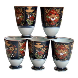 Japanese Arita Imari Yunomi Tea Cups in Wooden Box - Set of 5