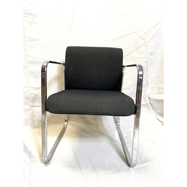 Mid-Century Modern Marvelous Peter Protzman for Herman Miller Chrome Black Fabric Chairs - a Pair For Sale - Image 3 of 13