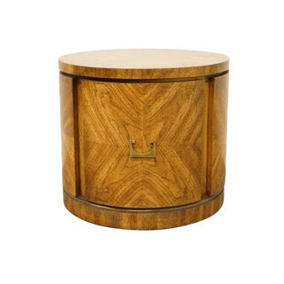 "Gordon's Bookmatched Walnut 24"" Round Drum End Table For Sale"