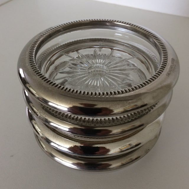 Italian Vintage Italian Crystal Silver Plated Rim Coasters by Leonard - Set of 4 For Sale - Image 3 of 11