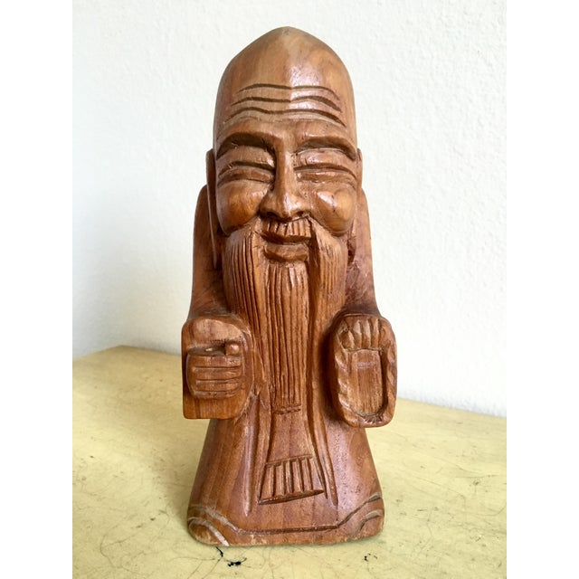 1970s Peaceful Tibetan Monk - Hand Carved Wood - Image 2 of 9