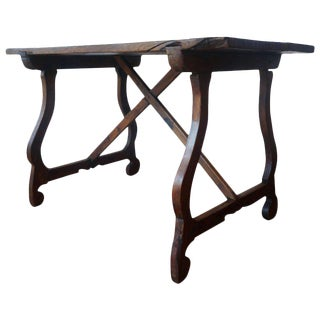 18th Century Spanish Baroque Trestle-Refectory Table on Lyre-Shaped Legs