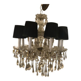 Vienna Style Chandelier With Black Shades For Sale