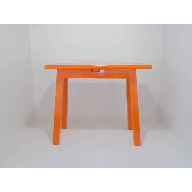 Vintage Mid-Century Orange Wood Side Table For Sale In Sacramento - Image 6 of 9