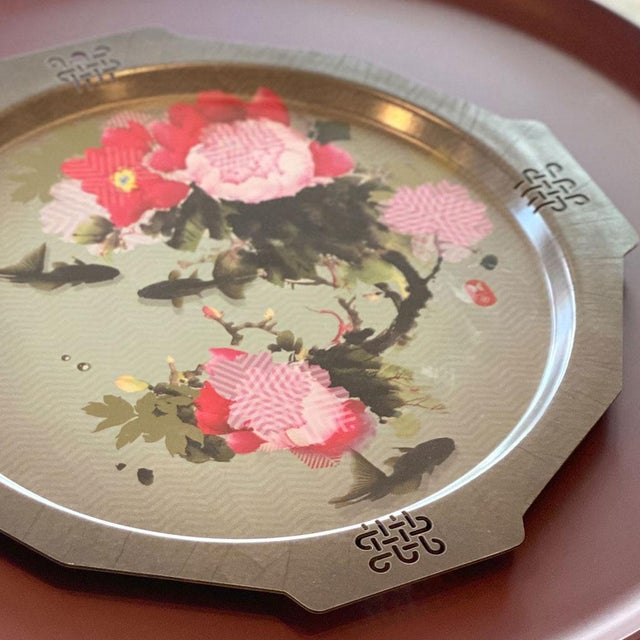 French Peony + Coy Mural Serving Tray, Ibride For Sale - Image 3 of 5
