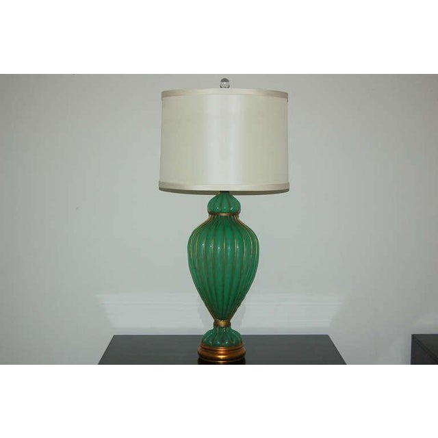 1950s Marbro Murano Opaline Glass Table Lamps Green For Sale - Image 5 of 9