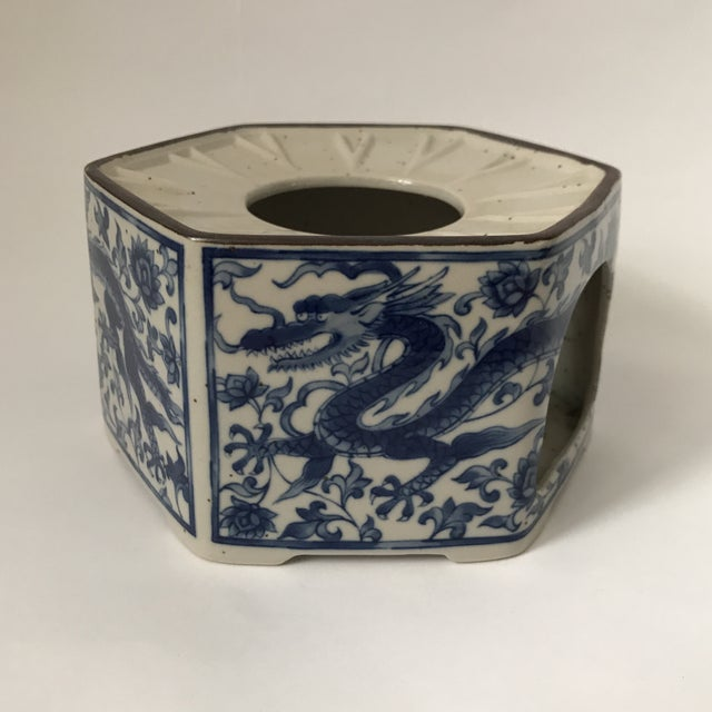 Vintage blue and white porcelain hexagonal teapot warmer with hand painted dragon decoration. Use as cachepot, candle...