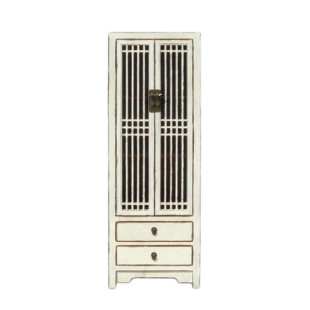 Rustic White Tall Narrow Cabinet Shutter Doors Chairish