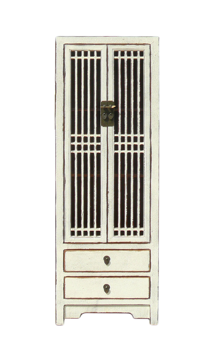 Rustic White Tall Narrow Cabinet, Shutter Doors