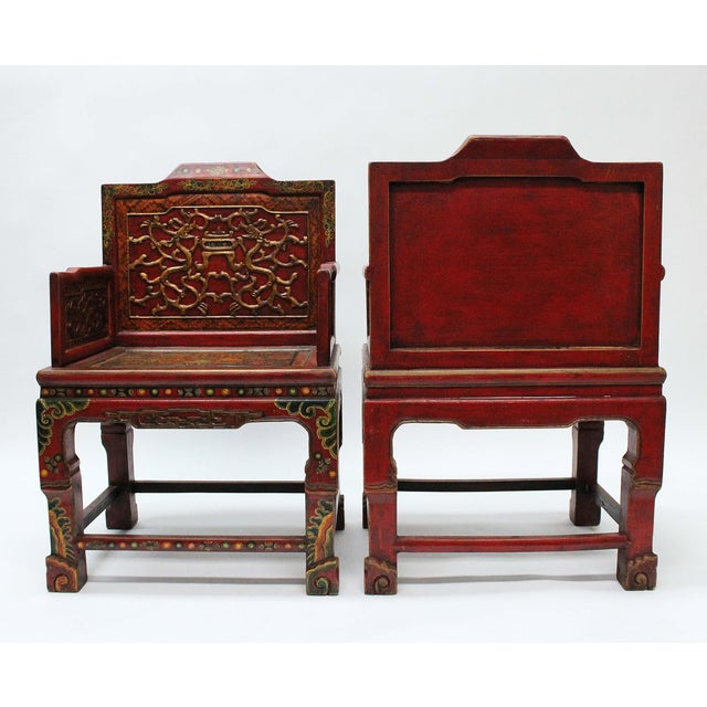 Late 20th Century Vintage Tibetan Hand-Painted Chairs - A Pair For Sale - Image 5 of 7