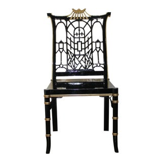 Chinoiserie Black Lacquer Pagoda Bamboo Side Chairs- A Pair For Sale