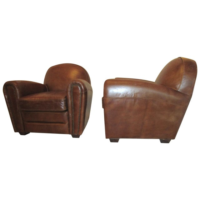 Leather Club Chairs - Pair - Image 1 of 5
