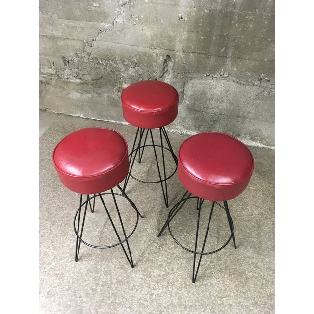 Mid Century Iron Bar Stools - Set of 3 For Sale In Los Angeles - Image 6 of 10