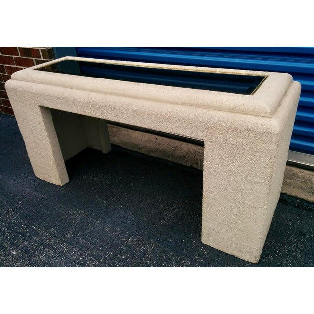 Faux Stone Console Table with Mirrored Top - Image 2 of 11
