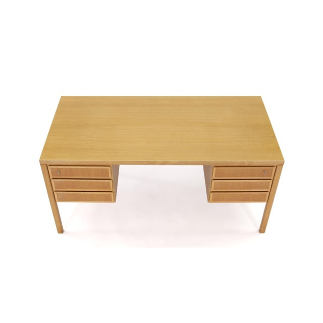 1960s Danish Modern Executive Desk in Oak by Gunni Omann for Omann Jun For Sale - Image 11 of 13
