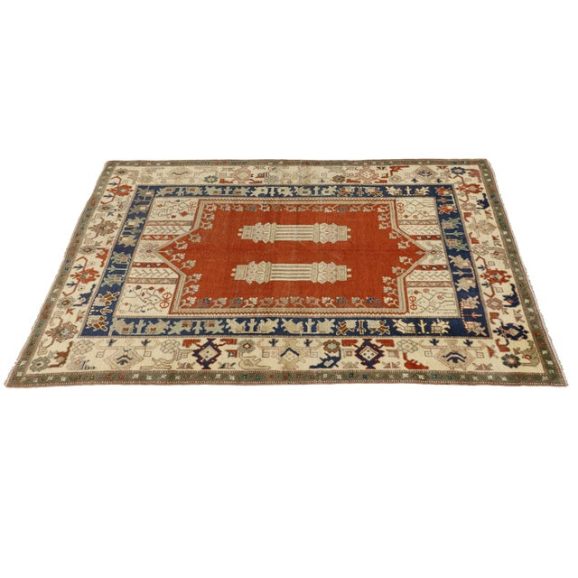 Islamic Vintage Turkish Oushak Rug With Mid-Century Modern Style- 5′1″ × 6′11″ For Sale - Image 3 of 3