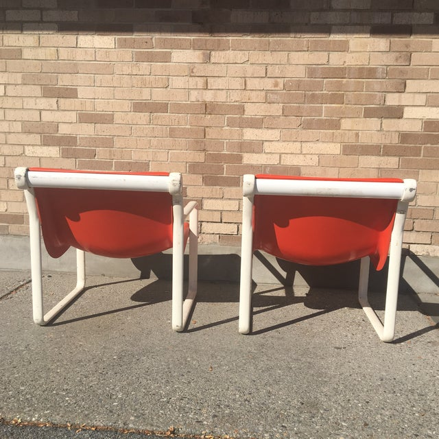 Knoll Iconic Orange Shell Lounge Chairs - A Pair - Image 8 of 8