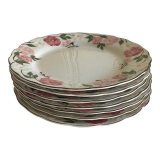 Vintage Pink Floral Dinner Plates - Set of of 7 For Sale