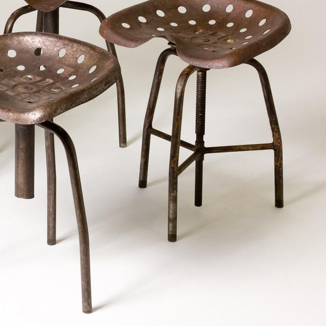 Industrial Set of Four Metal Industrial Swivel Stools For Sale - Image 3 of 5
