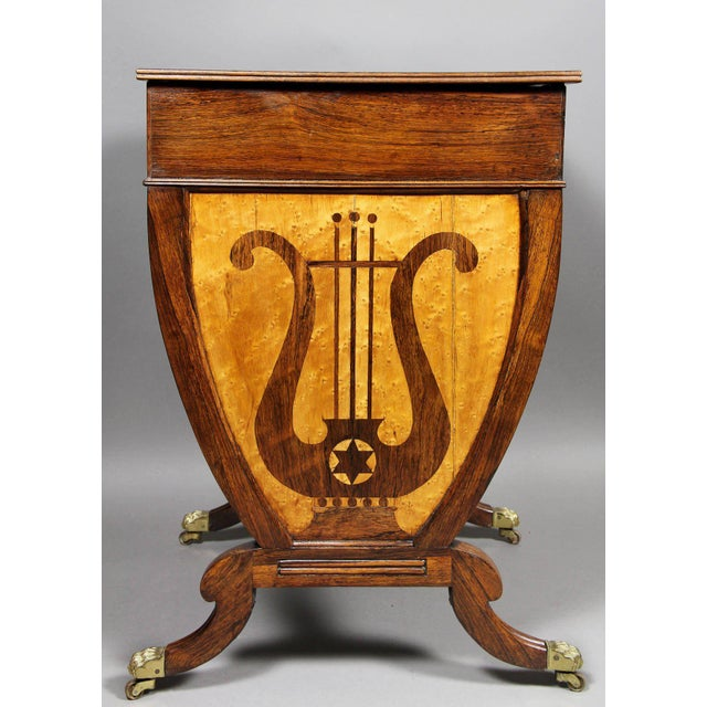 Brass Unusual Regency Rosewood and Bird's-Eye Maple Music Table For Sale - Image 7 of 9