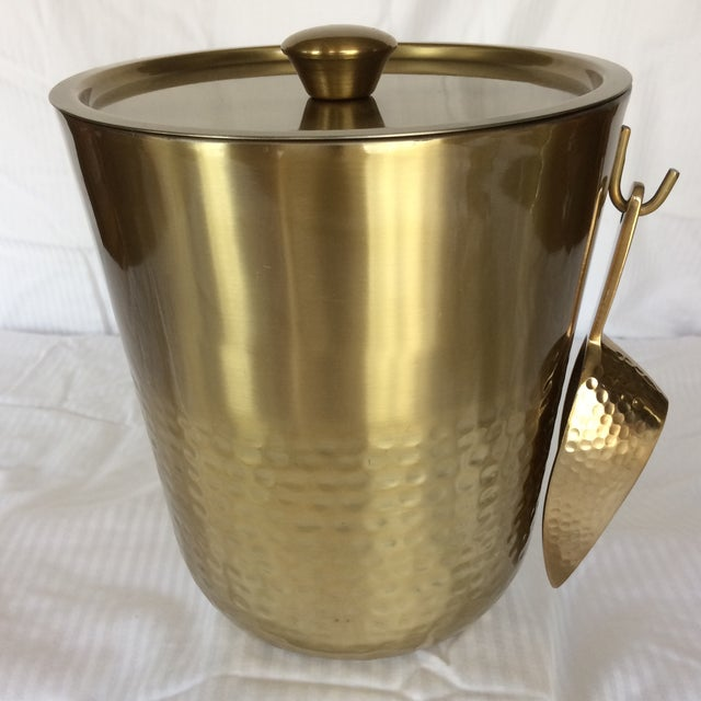 Gold Anodized Double Insulated Ice Bucket and Ice Scoop For Sale - Image 13 of 13