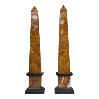 Pair of Marble Obelisks For Sale