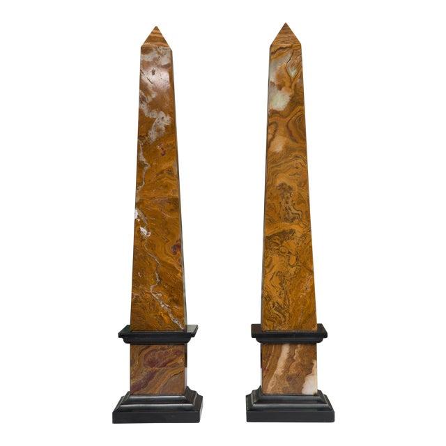 Pair of Marble Obelisks For Sale